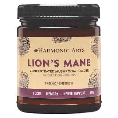 Jar of Harmonic Arts Lion's Mane Concentrated Mushroom Powder 100 Grams