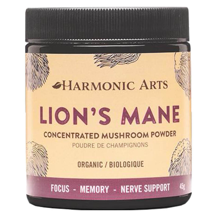 Jar of Harmonic Arts Lion's Mane Concentrated Mushroom Powder 45 Grams