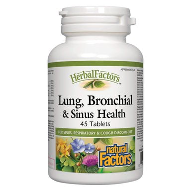 Bottle of Natural Factors HerbalFactors Lung, Bronchial & Sinus Health 45 Tablets | Optimum Health Vitamins, Canada