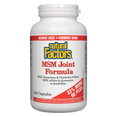 Bottle of Natural Factors MSM Joint Formula 240 Capsules