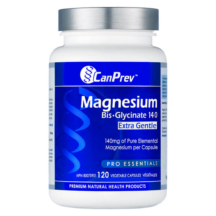 Bottle of Magnesium Bis-Glycinate 140 Extra Gentle 120 Vegetable Capsules