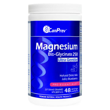 Container of CanPrev Magnesium Bis-Glycinate Natural Drink Mix Juicy Blueberry Flavour 257 Grams