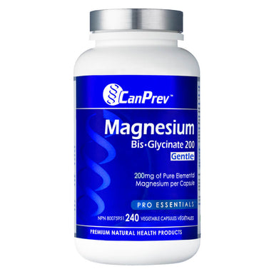 Bottle of CanPrev Magnesium Bisglycinate 200 Gentle 240 Capsules