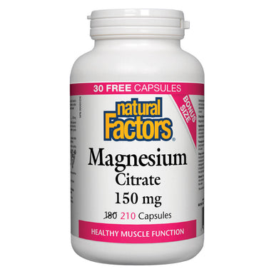 Bottle of Magnesium Citrate 150 mg 210 Capsules Bonus Size