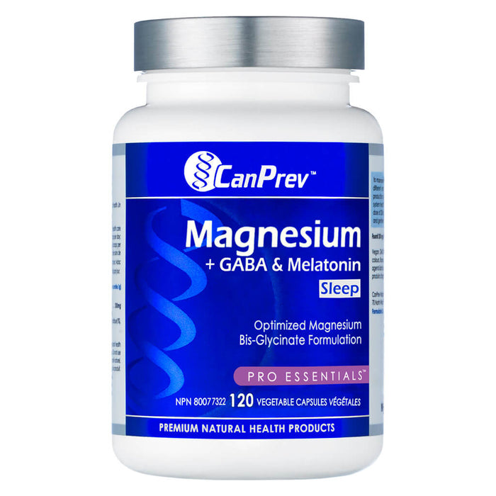 Bottle of Magnesium + GABA & Melatonin for Sleep 120 Vegetable Capsules
