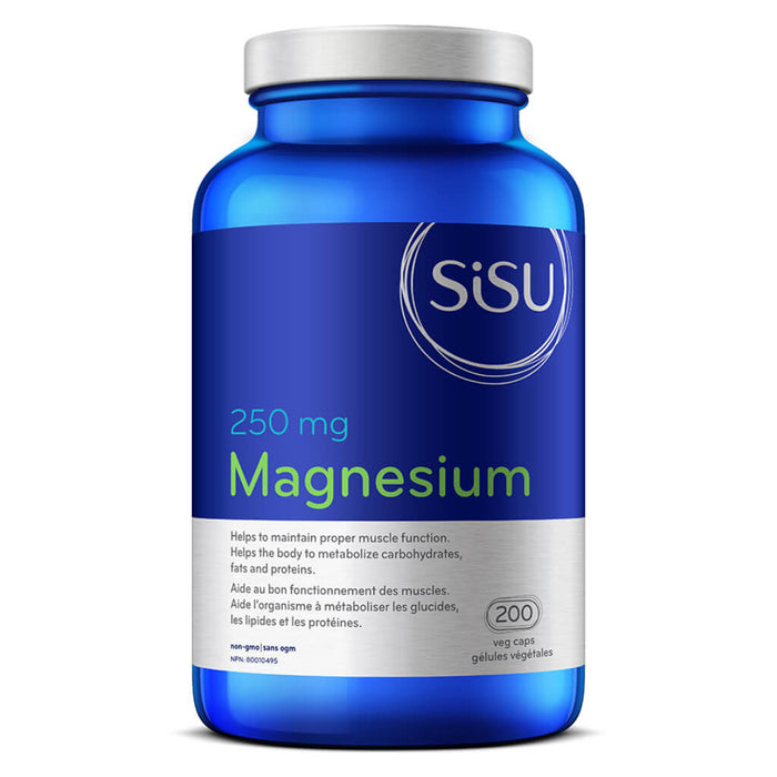 Bottle of Magnesium 250 mg 200 Vegetable Capsules