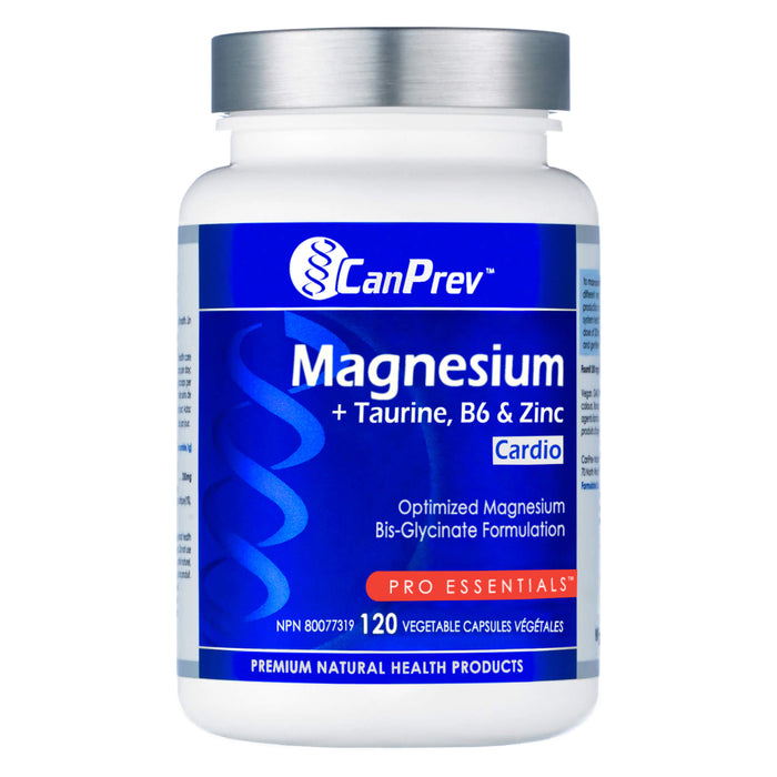 Bottle of CanPrev Magnesium + Taurine, B6 & Zinc for Cardio 120 Vegetable Capsules