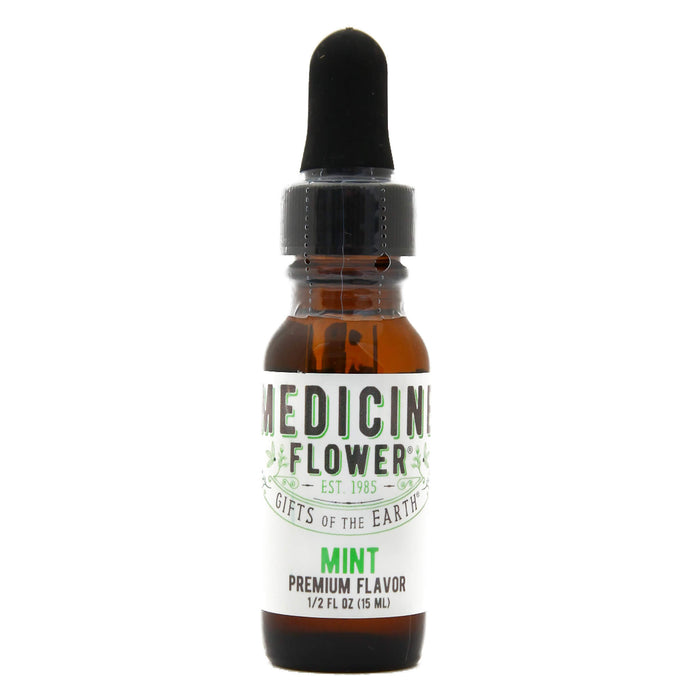 Dropper Bottle of Medicine Flower Flavouring Oil Mint 1/2 Fluid Ounce