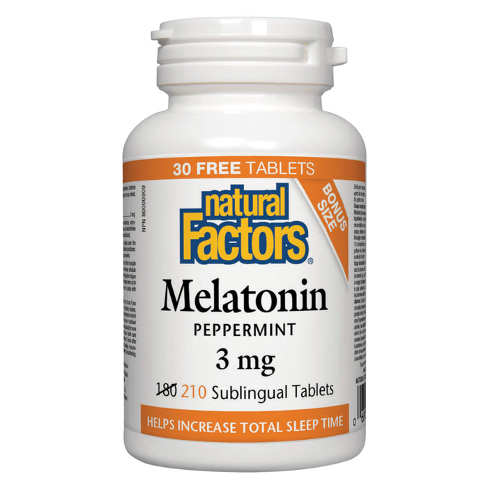 Bottle of Natural Factors Melatonin 3 mg Peppermint 210 Sublingual Tablets
