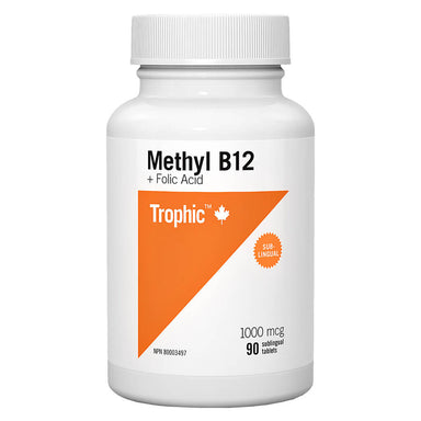 Bottle of Methyl B12 + Folic Acid 1000 mcg 90 Sublingual Tablets