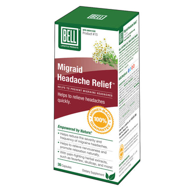 Box of Bell Migraid Headache Relief 30 Capsules