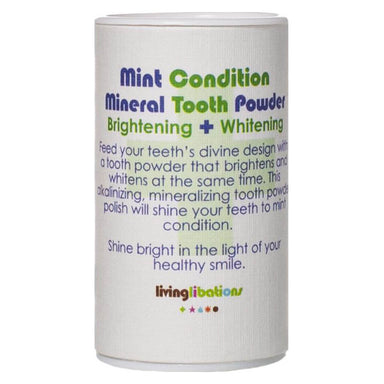 Container of Living Libations Mint Condition Mineral Tooth Powder 30 Milliliters