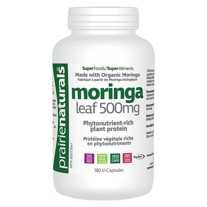 Bottle of Moringa Leaf Organic 180 V-Capsules