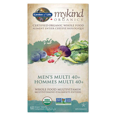Box of Garden of Life myKind Organics Men's Multi 40+ 60 Vegan Tablets