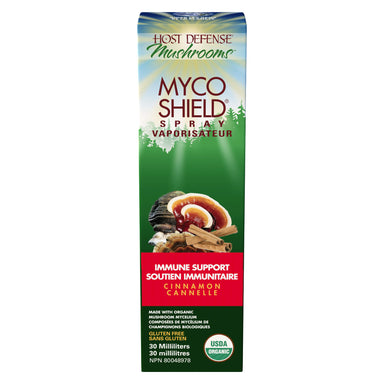 Box of Host Defense Mushrooms Myco Shield Spray Immune Support Cinnamon 30 Milliliters | Optimum Health Vitamins, Canada