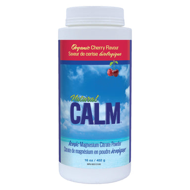 Bottle of Natural Calm Ionic Citrate Powder Organic Cherry Flavour 452 Grams 16 Ounces | Optimum Health Vitamins, Canada