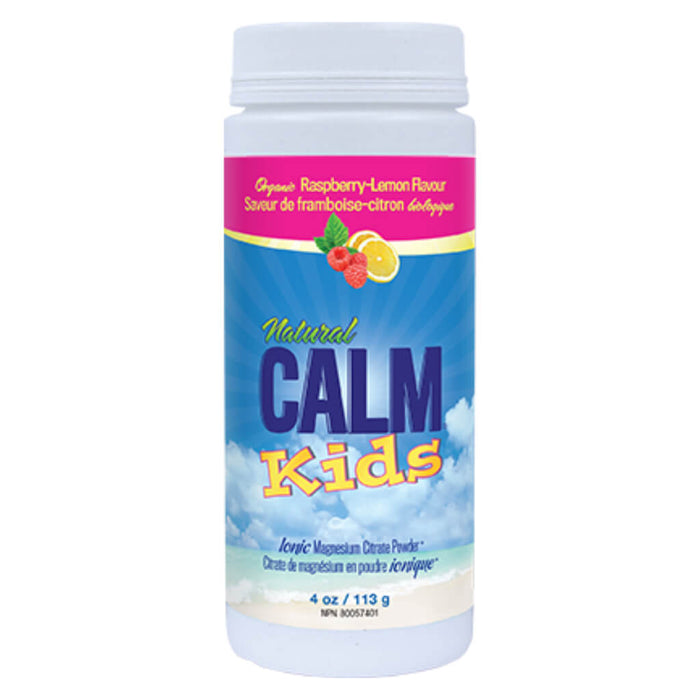 Bottle of Natural Calm Kids Ionic Magnesium Citrate Powder Organic Raspberry-Lemon Flavour 113 Grams 4 Ounces | Optimum Health Vitamins, Canada