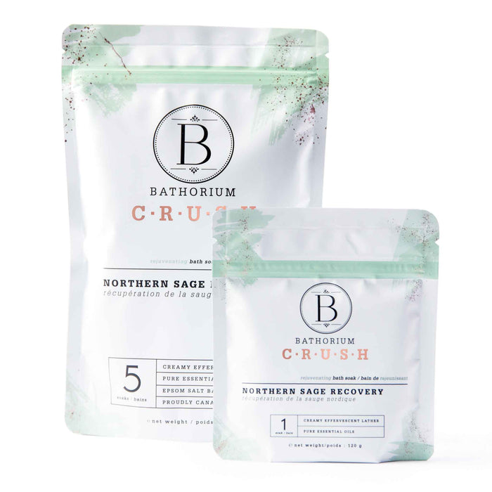 Bags of Bathorium Northern Sage Recovery Bath Crush 120 grams and 600 grams