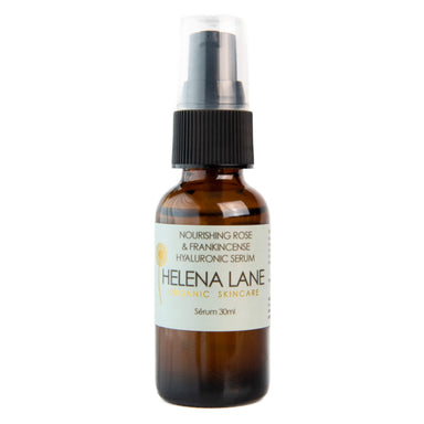 Pump Bottle of Helena Lane Nourishing Rose & Frankincense Hyaluronic Serum 30 Milliliters