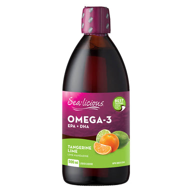 Bottle of Omega-3 EPA + DHA Tangerine Lime 500 Milliliters
