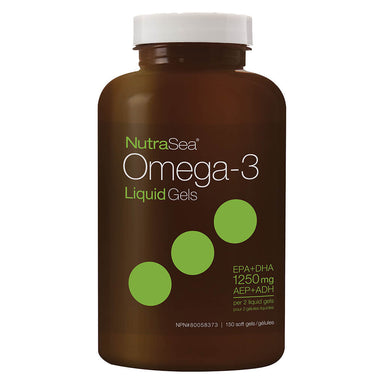 Bottle of NutraSea Omega-3 Liquid Gels Fresh Mint 150 Softgels