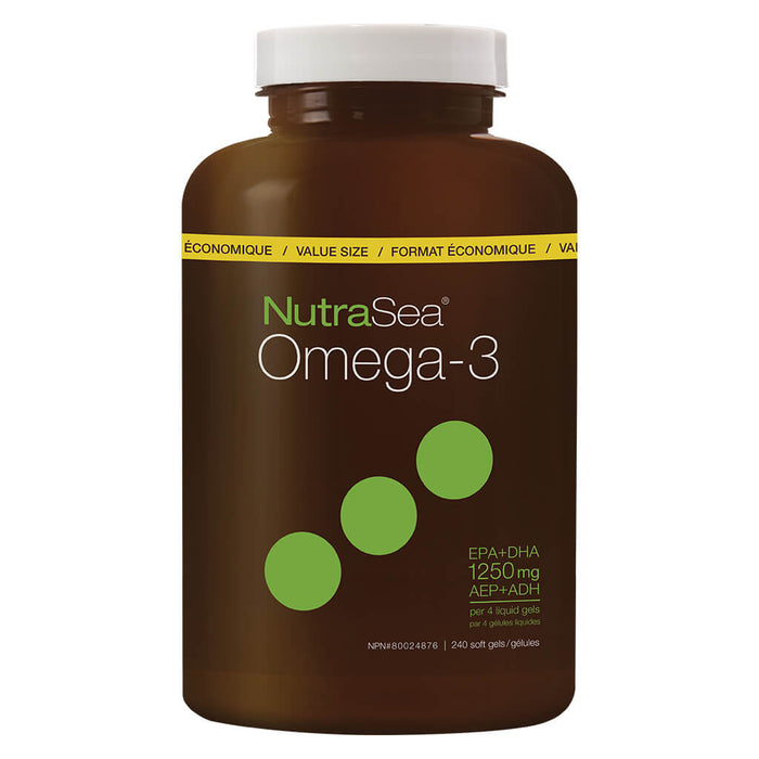 Bottle of NutraSea Omega-3 Liquid Gels Zesty Lemon 240 Softgels