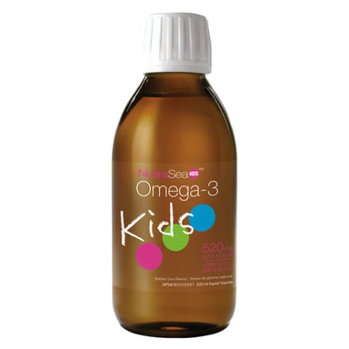Bottle of Omega-3 Kids Liquid Bubble Gum 200 Milliliters