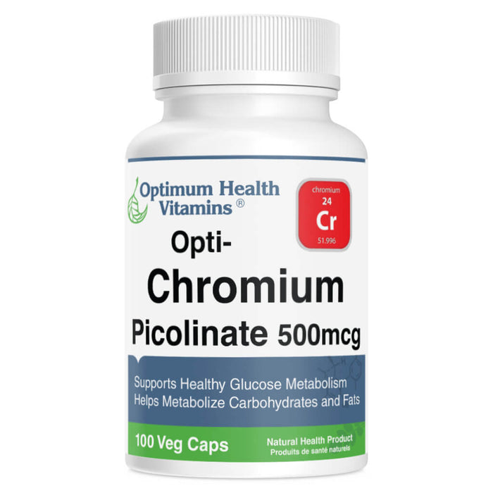 Bottle of Chromium Picolinate 500 mcg 100 Vegetable Capsules