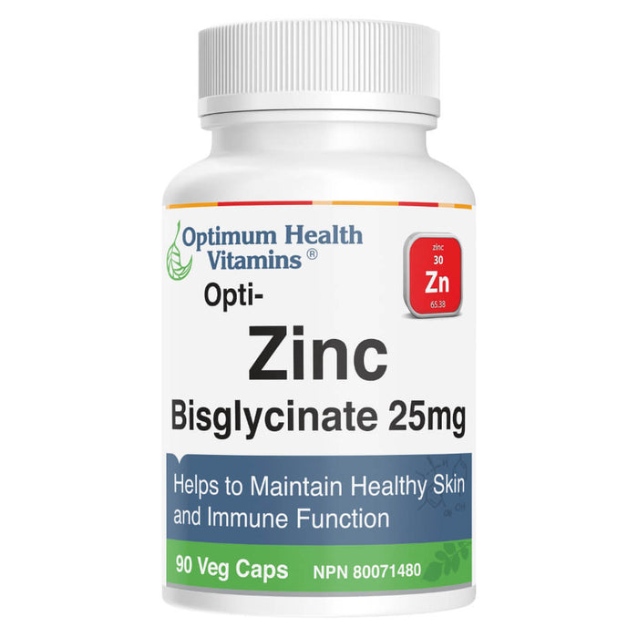 Bottle of Opti-Zinc Bisglycinate 25 mg 90 Vegetable Capsules