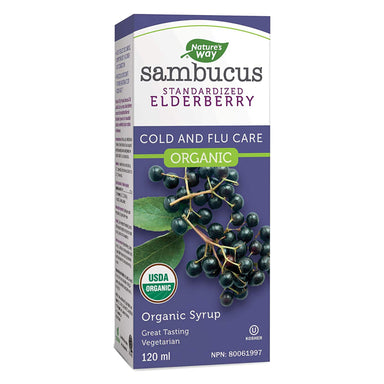 Box of Nature's Way Organic Sambucus Cold and Flu Care, Elderberry Syrup 120 Milliliters