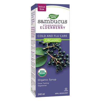 Box of Nature's Way Organic Sambucus Cold and Flu Care, Elderberry Syrup 240 Milliliters