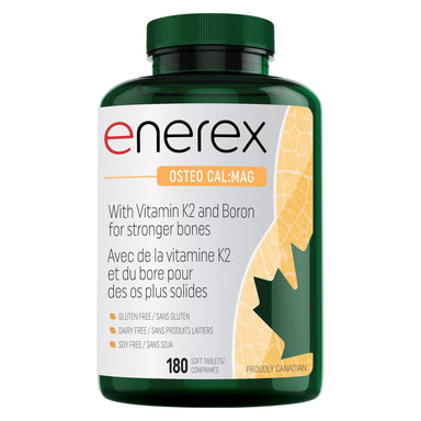 Bottle of Enerex Osteo Cal:Mag 180 Soft Tablets