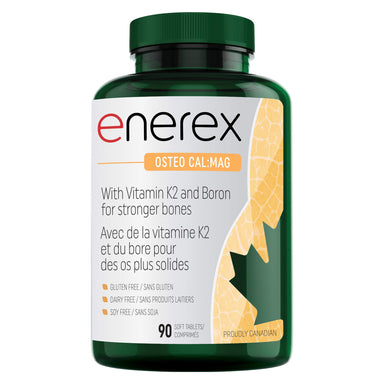 Bottle of Enerex Osteo Cal:Mag 90 Soft Tablets