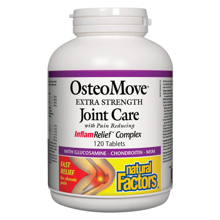 Bottle of Natural Factors OsteoMove® Extra Strength Joint Care 120 Tablets