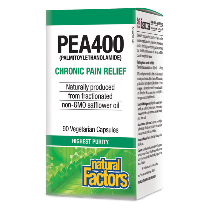 Box of Natural Factors PEA400 (Palmitoylethanolamide) 90 Vegetarian Capsules
