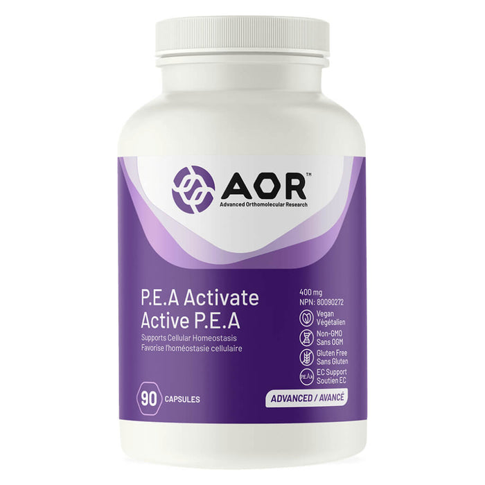 Bottle of AOR P.E.A Activate 400 mg 90 Capsules