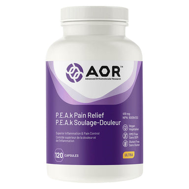 Bottle of P.E.A.k Pain Relief 120 Capsules
