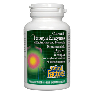 Bottle of Natural Factors Papaya Enzymes 120 Chewable Tablets