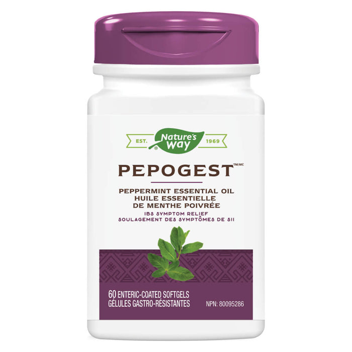 Bottle of Nature's Way Pepogest (Peppermint Oil) 60 Enteric-Coated Softgels