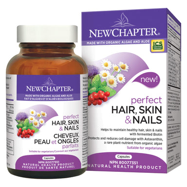 Bottle & Box of New Chapter Perfect Hair, Skin & Nails | Optimum Health Vitamins, Canada