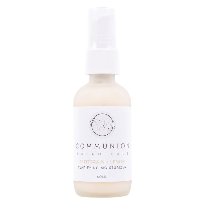 Pump Bottle of Communion Botanicals Petitgrain + Lemon Clarifying Moisturizer 60 Milliliters