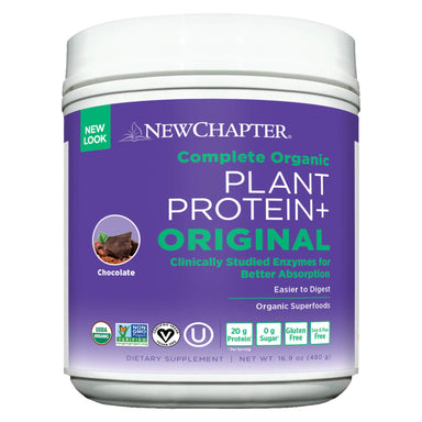 Bottle of New Chapter Plant Protein+ Original Chocolate 480 Grams