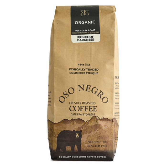 Bag of Oso Negro Coffee Prince of Darkness Very Dark Roast 454 Grams
