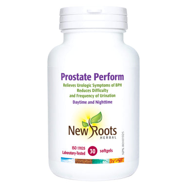 Bottle of New Roots Prostate Perform 30 Softgels