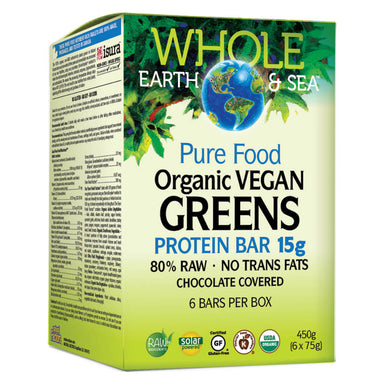 Box of Organic Vegan Greens Protein Bars 6 Pieces 75 Grams