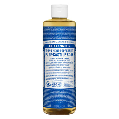 Bottle of Dr. Bronner's Pure Castile Liquid Soap Peppermint 16 Ounces