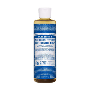 Bottle of Dr. Bronner's Pure Castile Liquid Soap Peppermint 8 Ounces
