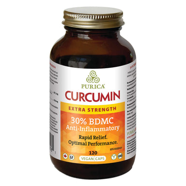 Bottle of Purica Curcumin Extra Strength - Powered by BDM30™ 120 Vegan Capsules