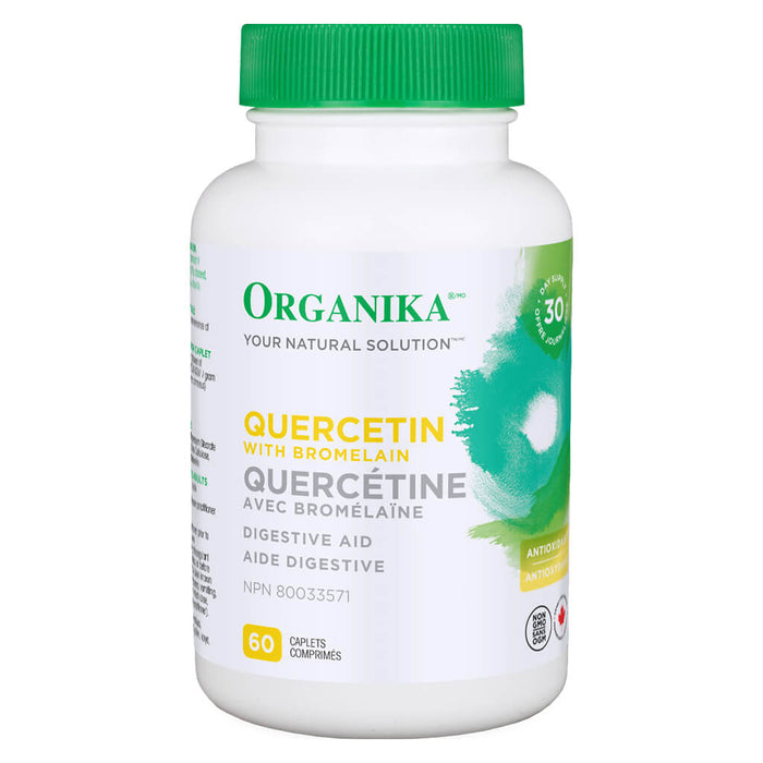 Bottle of Organika Quercetin with Bromelain 60 Caplets
