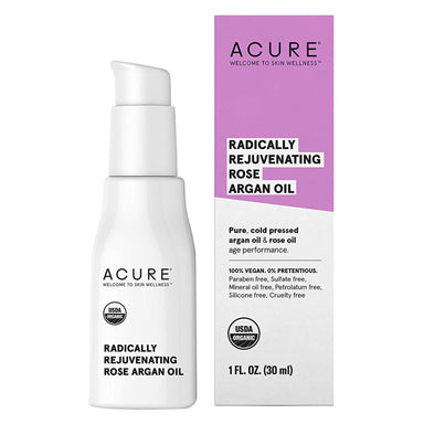 Bottle and Box of Acure Radically Rejuvenating Rose Argan Oil 1.7 Fluid Ounces